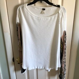 White thermal bell sleeve shirt